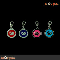 4 Colors Mixed Paw Shape Pet Tags Pendants Charms For Dog Collar (MOQ:4pcs/lot)