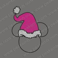 Cute Design Free Shipping 30Pcs/Lot Christmas Hat Iron On Transfers Rhinestone Motif Hotfix Rhinestone Wholesale