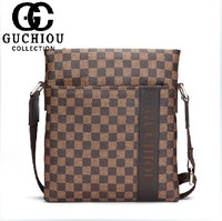 New Plaid man bag male shoulder bag messenger bag business casual