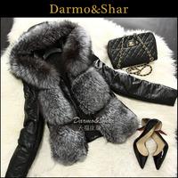 2014 100% real natural Silver fox fur short design sleeves detachable genuine sheepskin leather coat female fur coat WTP2
