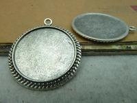 5pcs 32mm-25m Antique Silver Round Cameo Cabochon Base Setting Pendants Charm Pendant C2913