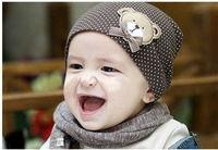 10PCS CUTE BEAR BABY CAP KIDS HATS COTTON  BEANIE INFANT HAT
