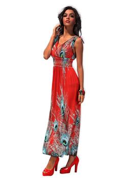 2013 high quality fashion style summer dress print maxi dress V-neck skirts plus size M XXL beahwear sexy party dress #4186