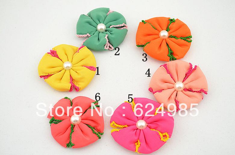 Anna $10 Boutique 6 colors chiffon flower fabric flower pearl centre no clip no headbands flower Girls Hair accessries 12pcs/lot(China (Mainland))