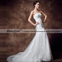plus size sexy sweetheart strapless satin rhinestone sheath mermaid wedding dresses with court train HoozGee 22132
