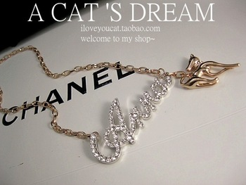 Free shipping Anna delicate rhinestone fashion design short necklace chain letter chain