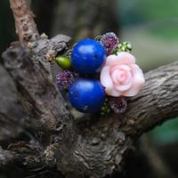 Hand for blue berry handmade flower vintage ring color