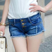 2014 New Arrival Women's Fashion Hot Summer deep Blue Crimping Slim elastic Casual Beach Denim Jeans Shorts,Free Shipping