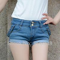 2014 New Arrival Women's Fashion Blue vintage style Roll Leg Slim elastic Casual Beach Denim Jeans Shorts,Free Shipping
