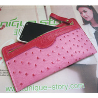 Ultra-thin women's wallet ostrich grain genuine leather wallet zipper long design coin purse