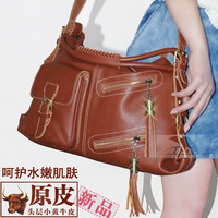Original shoulder bag first layer of cowhide female bags handbag genuine leather messenger bag large le023