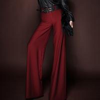 2014 High Waist Wide Leg Pants, Women's High Fashion Wide Leg Flare Full Length Trousers/Pants