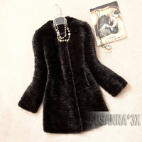 2013 WINTER  100% EUROPEAN  MINK FUR COAT BLACK COLOUR/MINK FUR THICK KNITTED JACKET*EMS FREE SHIPPING* NO.SU-1211-1
