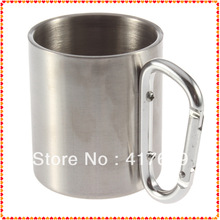 1pcs 220ml Traveling Carabiner Aluminium Hook Double Wall Stainless Steel Camping Cup Mug wholesale Dropshipping