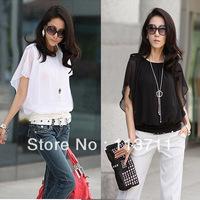New Women Batty Sleeve Sheer Chiffon Blouse T-shirt chic elegant Tops Size M L XL 126