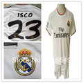 2013 2014 Top  quality Real madrid jerseys #23 ISCO ,100% Polyester  Real madrid home white soccer jerseys ISCO 23 shirt