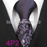 YIBEI Coachella ties SKINNY Tie New Design Purple Knot Contrast Black With Purple Florals Microfiber Necktie SLIM Tie