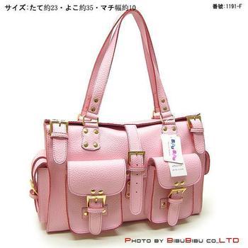 Pink leather PU fashion military women's one shoulder handbag 1191-f