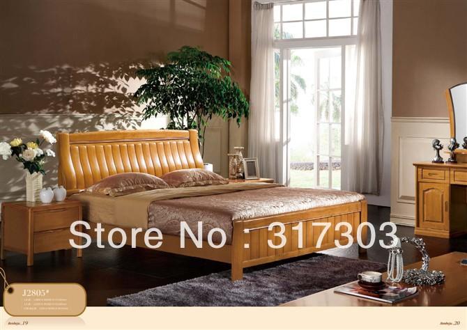 Usine gros bois massif lit double design moderne chambre for Set de chambre bois massif