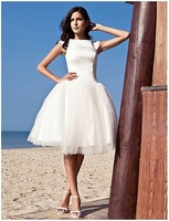 2013 new arrival white Ball Gown Bateau Knee-length Satin Tulle Wedding Dress inspired by Audrey Hepburn Funny Face