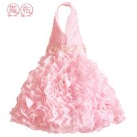 Summer child puff  pink princess dress one-piece dress children's clothing dress