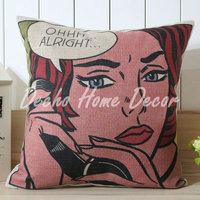 Free Shipping 45x45cm Roy Lichtenstein Pop Art Paint pattern Red Hair Girl Linen Cushion Covers Pillow Cases