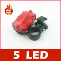5 LED 6 Mode Tail Rear Safety Warning Flashing Bike Bicycle Flashlight Light Lamp