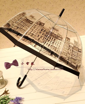 2013 new arrival  transparentlong-handled umbrella princess Eiffel Tower yong girl cute and beautiful umbrellas
