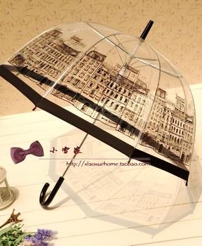 2014new arrival  transparentlong-handled umbrella princess Eiffel Tower yong girl cute and beautiful umbrellas