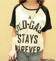 Women's 2013 summer casual letter loose sleeve raglan short-sleeve T-shirt et69 summer female