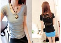 Women's 2013 summer back lace patchwork cross o-neck short-sleeve slim T-shirt d85 summer female