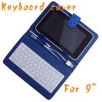 "Free shipping 9"" Universal Keyboard cover cartoo case Compatible for 9inch tablet PC with USB host or micro"