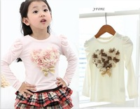 Free Shipping(5pcs/lot) Girl's fashion flower t-shirts Baby Cotton white and pink T-shirts kids lovely flower heart tees