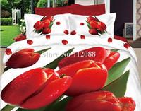 100% cotton red tulip flower white oil painting bedding set 3D bed linen quilt/duvet covers 4pc full/queen comforter