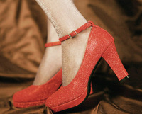 Thick heel platform belt high-heeled shoes wedding shoes red , gold , silver p180ab