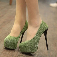Fashion elevator platform thin heels high-heeled shoes single shoes female shoes grey green black
