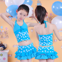 Free shipping Child swimming suit female child split skirt swimming suit small flower baby equipment 1201