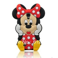 3D Cute Cartoon Minnie Mouse With Bow Silicone Soft Case Back Cover For Samsung Galaxy S4 I9500