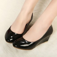2013 ol single shoes comfortable fashion all-match wedges single shoes