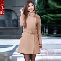 2013 women slim Wool Blends Coat outerwear female medium-long wool coat large fur collar Women's Clothing
