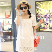 new Maternity clothing summer cutout  dress maternity 100% cotton short skirt summer top hy16