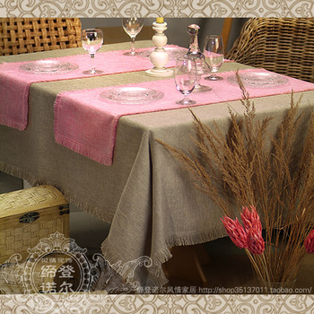 Fashion fashion rustic linen table runner dining table cloth take the towel set brown color customize 14 series