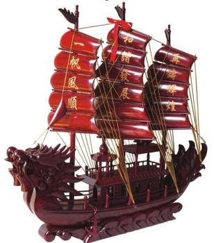 Big ssangyong , mahogany boat business gift , crafts sailboat 78