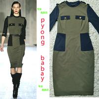 2013 women's fashion slim hip slim epaulet decoration three quarter sleeve one-piece dress