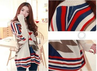 2013 korea Fashion Color Block V Neck Batwing Sleeve Loose Kintting Thick Sweater Pullover Tops for Girls
