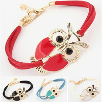 2013 New Fashion Lovers Vintage Owl Bracelet Jewelry Wholesale Free shipping Leather Rope Owl Charm Bracelets