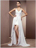 2013 new arrival cheap white Sheath/Column Spaghetti Straps Short/Mini custom Chiffon Wedding Dress With Removable Train