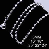 10pcs/lot Promotion! wholesale 925 silver necklace,925 silver fashion jewelry Ball Chain 3mm Necklace,Best Gift
