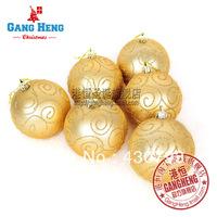 Christmas tree decoration pendant 8cm matt gold colored drawing christmas ball 6pcs/pack
