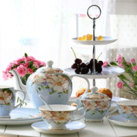 Bone china ceramic afternoon tea set coffee utensils cup and saucer combination gift set gift box tote